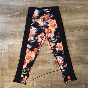 Floral Crop Leggings with Cutouts